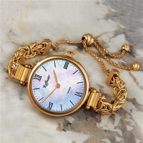Ladies 14K Italian Gold Byzantine Bracelet Watch