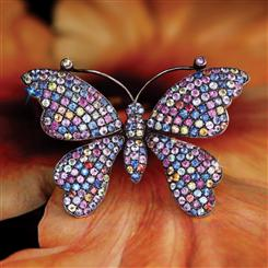 Sterling Silver Rainbow Sapphire Butterfly Brooch