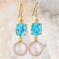 Blue Topaz & Pearl Earrings