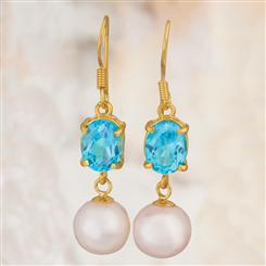 Blue Topaz & Pearl Earrings 5CTW