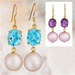 Gemstone & Pearl Earrings Set (Blue Topaz & Amethyst)