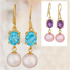 Gemstone & Pearl Earrings (Blue Topaz & Amethyst Set)