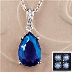 DiamondAura Sapphire Blue Teardrop Pendant, Chain & 4 Ornaments