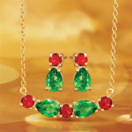 Helenite Holiday Earring and Necklace