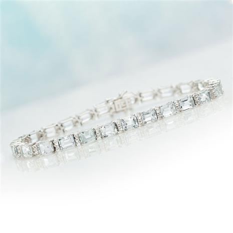 Sterling Silver Aquamarine And White Topaz Tennis Bracelet