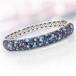 Sterling Silver Sapphire & Blue Topaz Bangle
