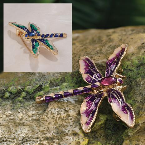 Nouveau Dragonfly Brooches (Set of 2)