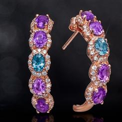 Amethyst & London Blue Topaz Earrings