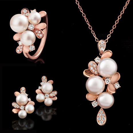 14K Rose Gold Akoya Pearl & Diamond Collection