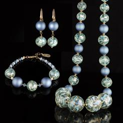 True Blue Murano Necklace, Bracelet and Earrings Collection