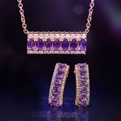 Amethyst Anniversary Necklace and Earring Set