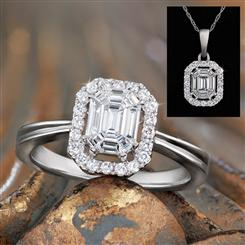 14K White Gold Elevated Halo Diamond Collection