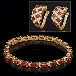 Red Garnet Cabernet Bracelet & Earrings