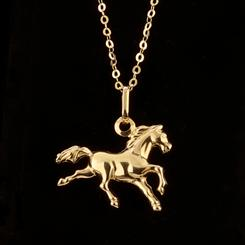 14K Italian Gold Horse Pendant and Chain
