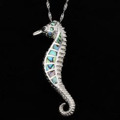 Abalone Beach Seahorse Pendant and Chain