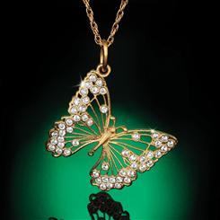 "Mariposa Pendant & 18"" Gold-finished Sterling Silver Chain with FREE Venezia Murano Watch"