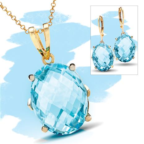 Sky Blue Topaz Gemstone Decadence Necklace and Earrings Set