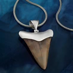 "Shark Tooth Pendant (medium) plus 22"" Bali Naga Chain"