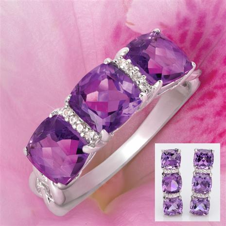 3-Stone Amethyst Ring & Earrings