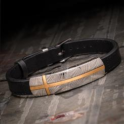Damascus Steel & Leather Bracelet