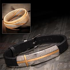 Damascus Steel & Leather Bracelet & Damascus Steel Ring
