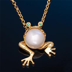 Frog Pearl Pendant & Chain