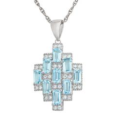 Blue Topaz Skyscraper Pendant and Chain