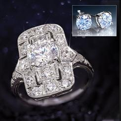 Art Deco Heirloom Ring PLUS FREE Stud Earrings