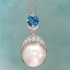 Pearl & London Blue Topaz Moonlight Pendant