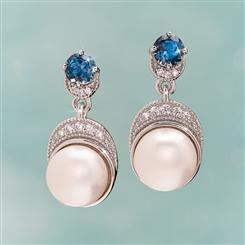 Pearl & London Blue Topaz Moonlight Earrings