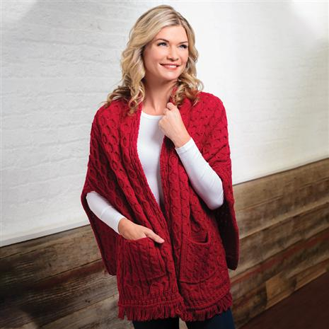 Genuine Irish Wool Wrap with Pockets (Red)