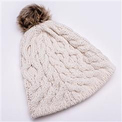 Genuine Irish Wool Bobble Hat & Mittens (Cream)