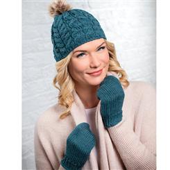 Genuine Irish Wool Bobble Hat & Mittens (Teal)