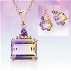 Ametrine Bliss Collection (Pendant, Chain & Earrings)
