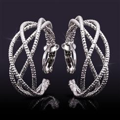 Clip-On Rhodium-Finished Twist Hoops