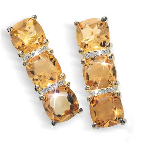 Champagne Citrine Three Stone Earrings