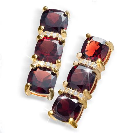 Cabernet Garnet Three Stone Earrings