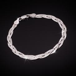Sterling Silver Italian Braided Chain Bracelet