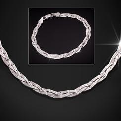 Sterling Silver Italian Braided Chain Necklace & Bracelet
