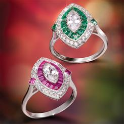 Parisian Rings (Ruby Red & Emerald Green)