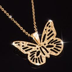 14K Gold Butterfly Pendant and chain