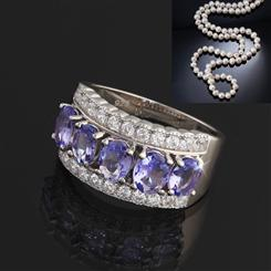 Karatu Tanzanite Ring PLUS FREE Pearl Necklace