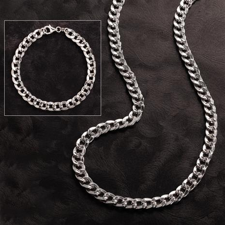 Rhodium-Finished Sterling Silver Grumetta Necklace and Bracelet