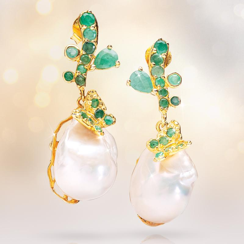 Emerald & Baroque Pearl Earrings