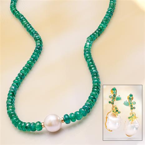 Emerald Radiance Necklace & Baroque Pearl Earrings