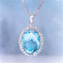 Heavenly Blue Topaz Pendant & 3-Strand Sterling Silver Cable Chain