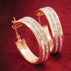 Gold-Finished Sterling Silver Sparkle Hoops