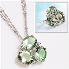 Green Amethyst Trifecta Pendant, Chain & Ring