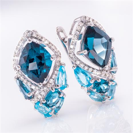 14K White Gold Blue Topaz & Diamond Cocktail Earrings
