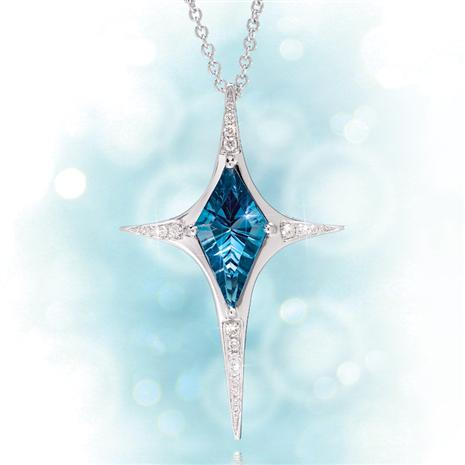 14K White Gold North Star London Blue Topaz Necklace